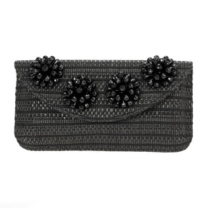 Beaded Flower Clutch Black