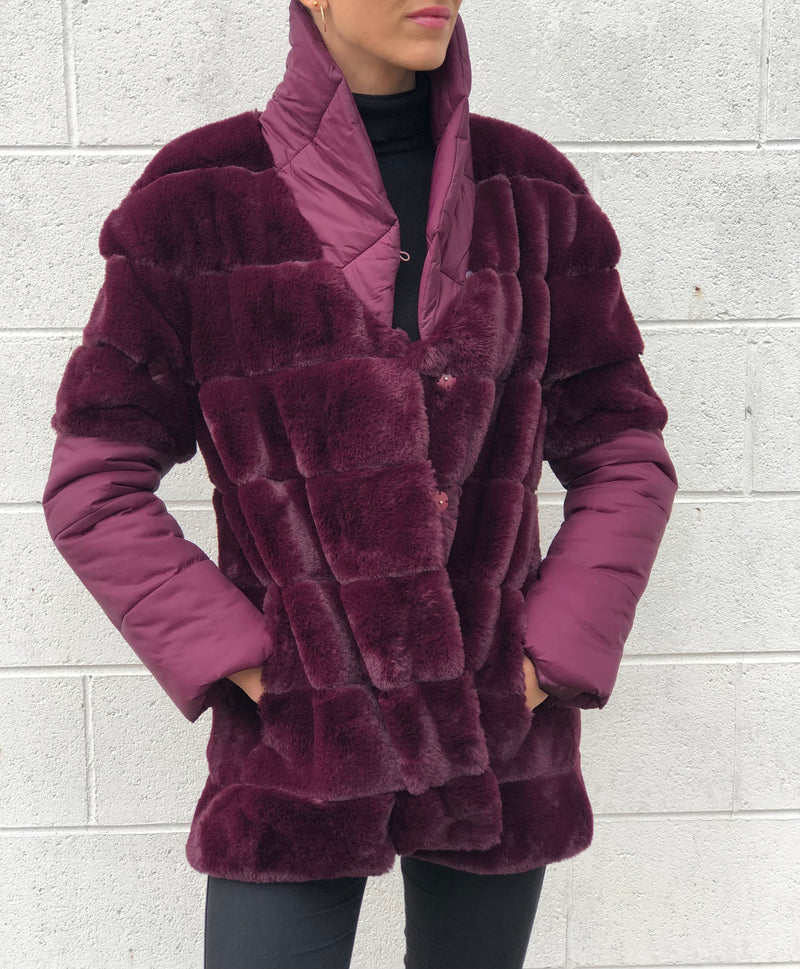 Jasmine Fur & Nylon Coat Burgundy