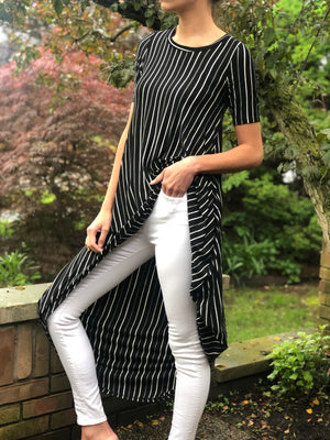 High-Low Tunic Black/White Stripe