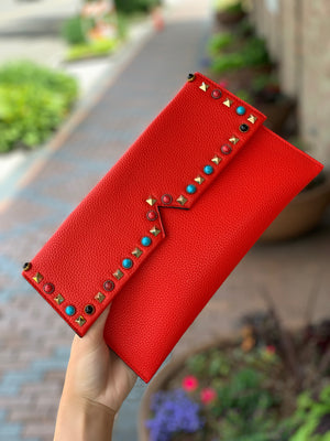 Studded Pebble Clutch Red