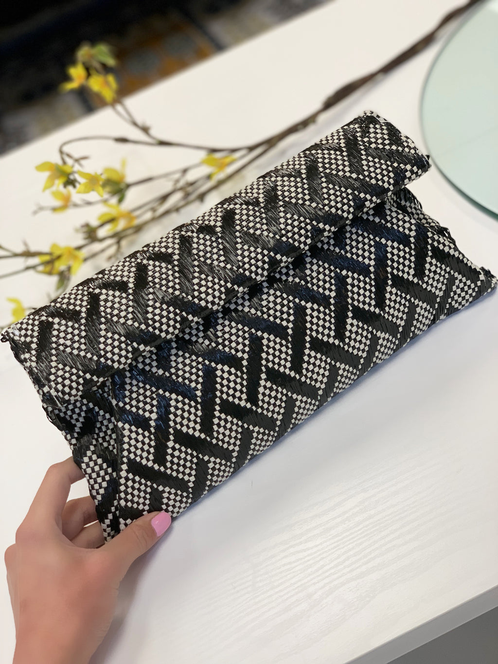 Emilia Woven Clutch Black White