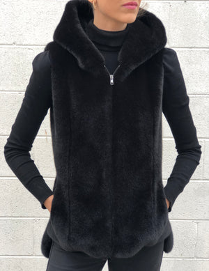 Mila Faux Fur Vest Black