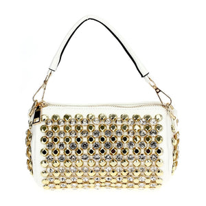 Funky Rhinestone Bag White
