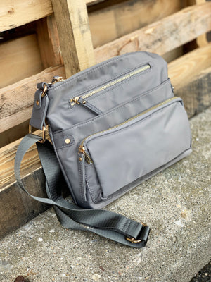 Julia Nylon Crossbody Grey
