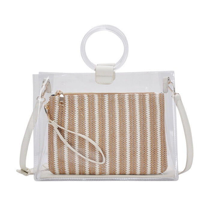 Lucite Circle Handle Tote White/Tan