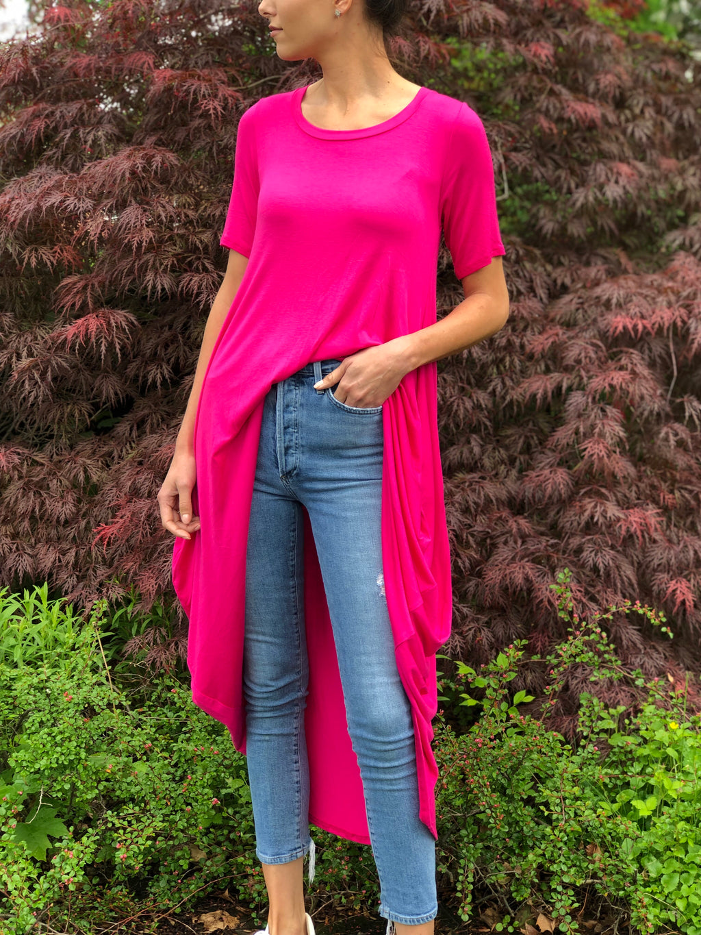 High-Low Tunic Fuchsia