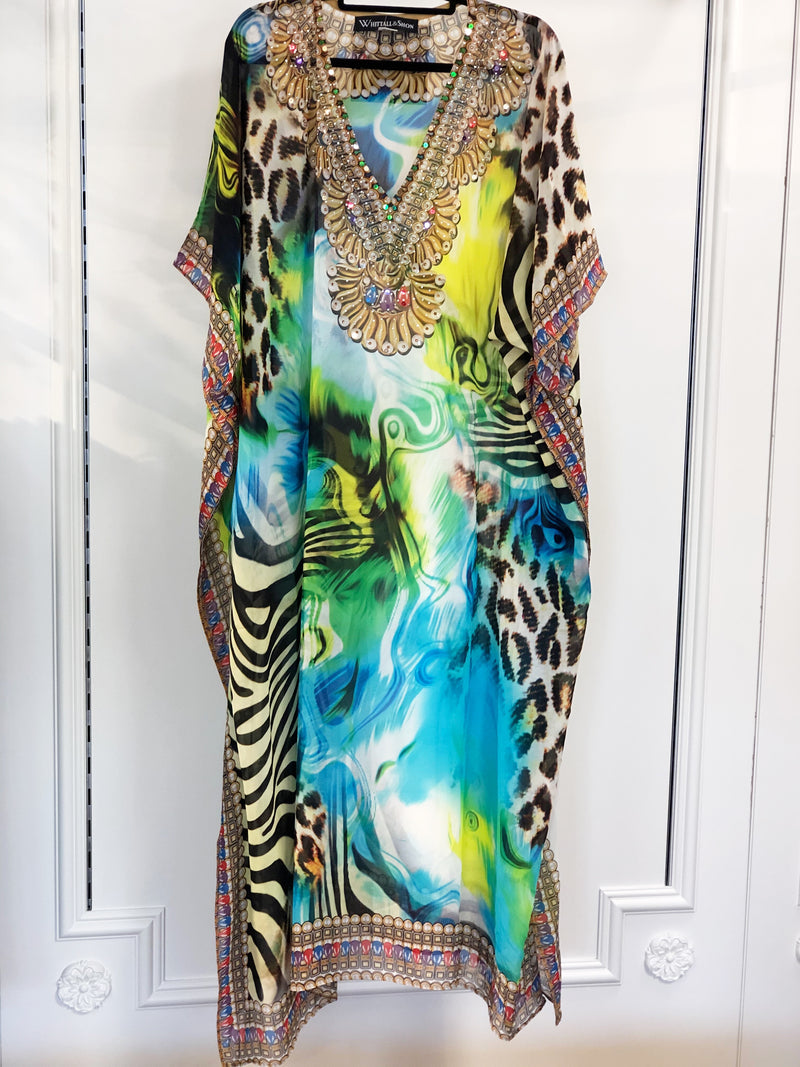 Silk Long Caftan Zebra Multi