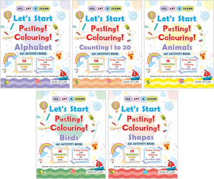 Activity Books for 4 year old | Let's Start Pasting & Colouring Activity Books (with Perforated Picture Cards) | Combo of 5 Books