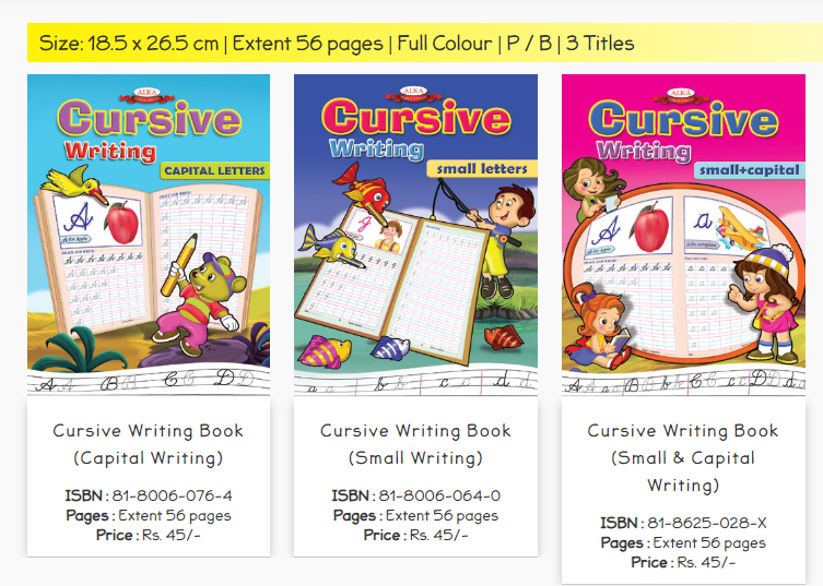 cursive writing books for children to learn capital and small letters writing