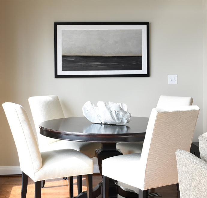 Lakefront Casual Dining Nook - Black & White Artwork