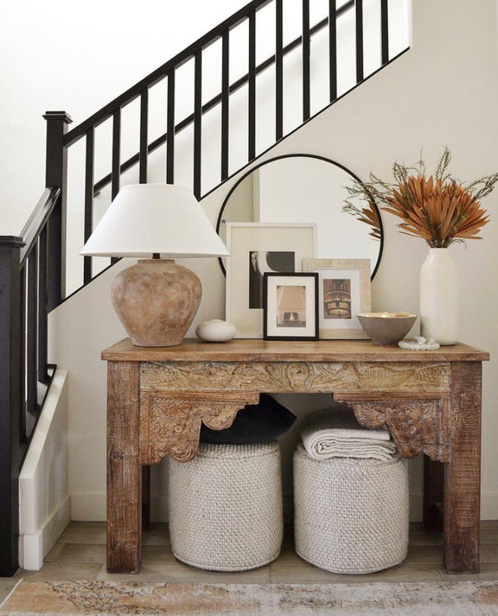 Neutral Entryway Console Table Decor, Black and Tan Artwork