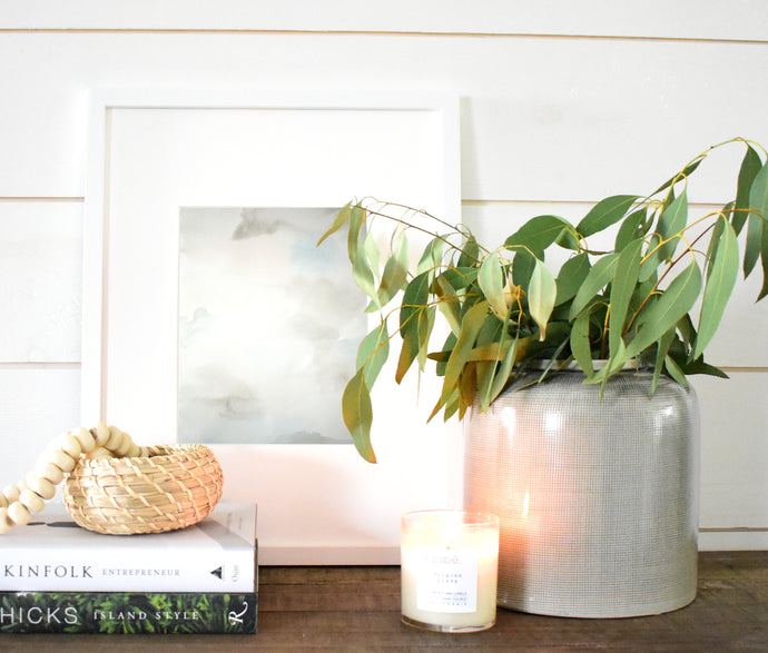 Console Table Styling with Neutral Artwork