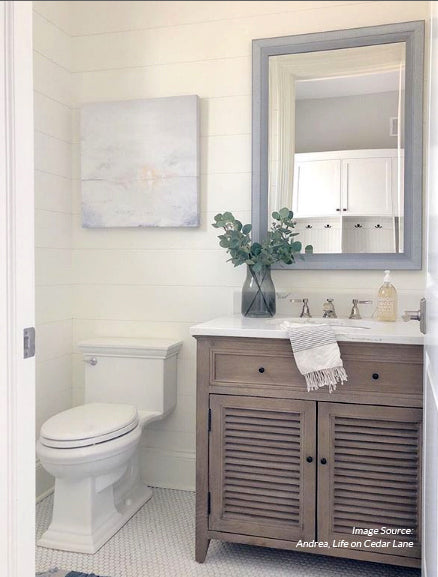Sunset Lake - Bathroom Decor in Life on Cedar Lane home