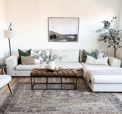 Neutral Living Room with Vintage Wall Art