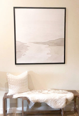 Neutral Entryway Decor, Art Above Bench, Neutral River Painting