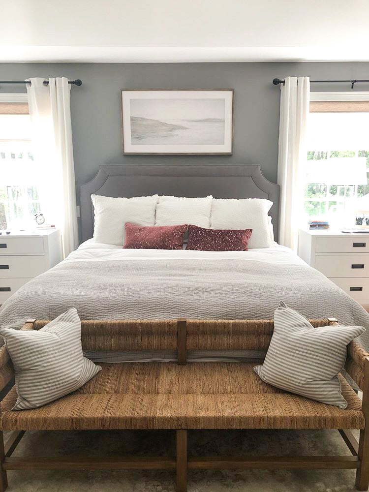 Art Above Bed, What Size Art Above A King Bed, Art Above King Bed, Neutral Landscape Art for Bedroom