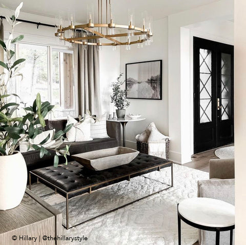 black and white artwork, neutral living room, river painting