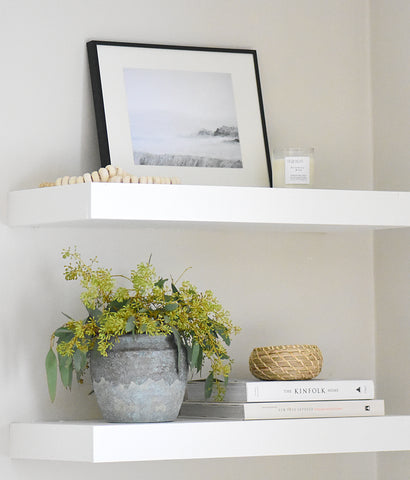 Neutral Shelf styling, shelf styling ideas, art for shelf styling