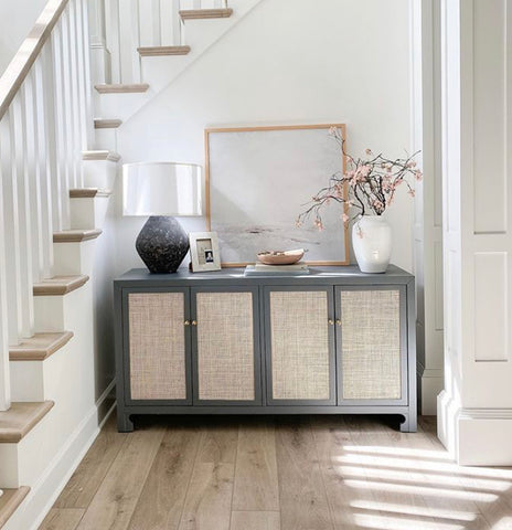 entryway styling, neutral entryway, entryway console styling with art, entryway art