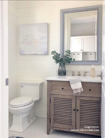 Sunset Painting, Lake Painting, Bathroom Renovation, Restoration Hardware Vanity, Neutral Bathroom
