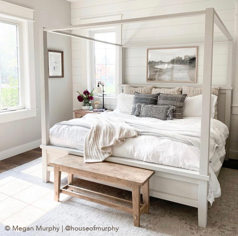 Brown Art Above King Bed, Art Above Canopy Bed, Neutral Art Bedroom