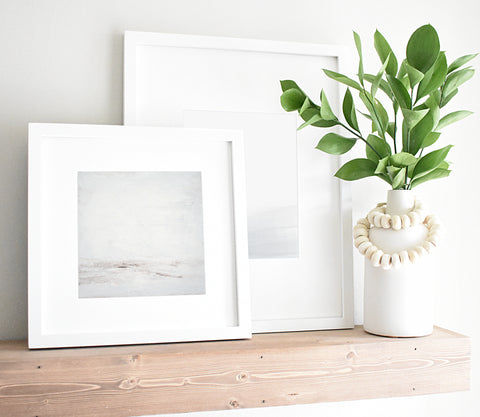 Neutral Art, Framed Artwork, Shelf Styling