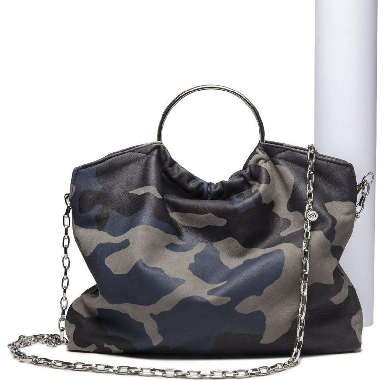 The Andrey Crossbody/ Handbag- Navy Camo Leather - SSY Designs