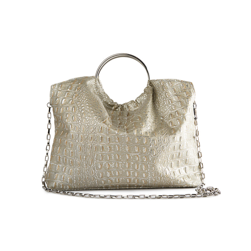 The Andrey Crossbody/ Handbag in Silver Cro-Effect Leather - SSY Designs