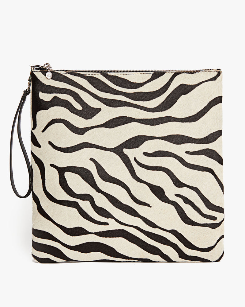 Zebra Leather Wristlet