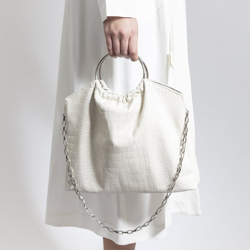 The Andrey Crossbody/ Handbag- Ivory Croc- Effect - SSY Designs