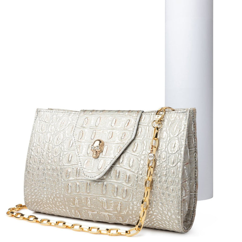 The Christina Handbag in Silver Croc-Effect Leather - SSY Designs