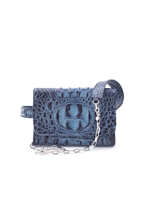 Triple Threat Belt Bag in Blue Croc