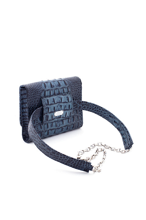 TRIPLE THREAT BELT BAG IN BLUE CROC - SSY Designs