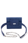 TRIPLE THREAT BELT BAG IN BLUE OSTRICH - SSY Designs