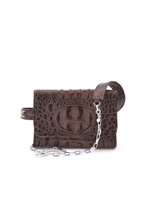 TRIPLE THREAT BELT BAG IN BROWN CROC - SSY Designs