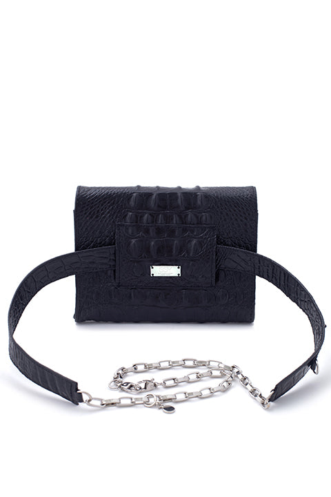 TRIPLE THREAT BELT BAG IN BLACK CROC - SSY Designs