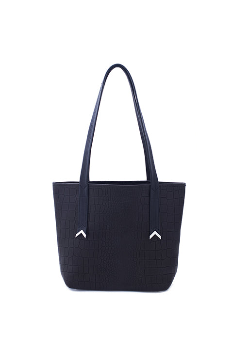Lita Tote In Black Croc - SSY Designs
