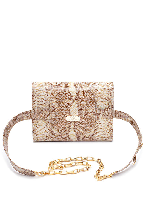 TRIPLE THREAT BELT BAG IN SNAKESKIN - SSY Designs