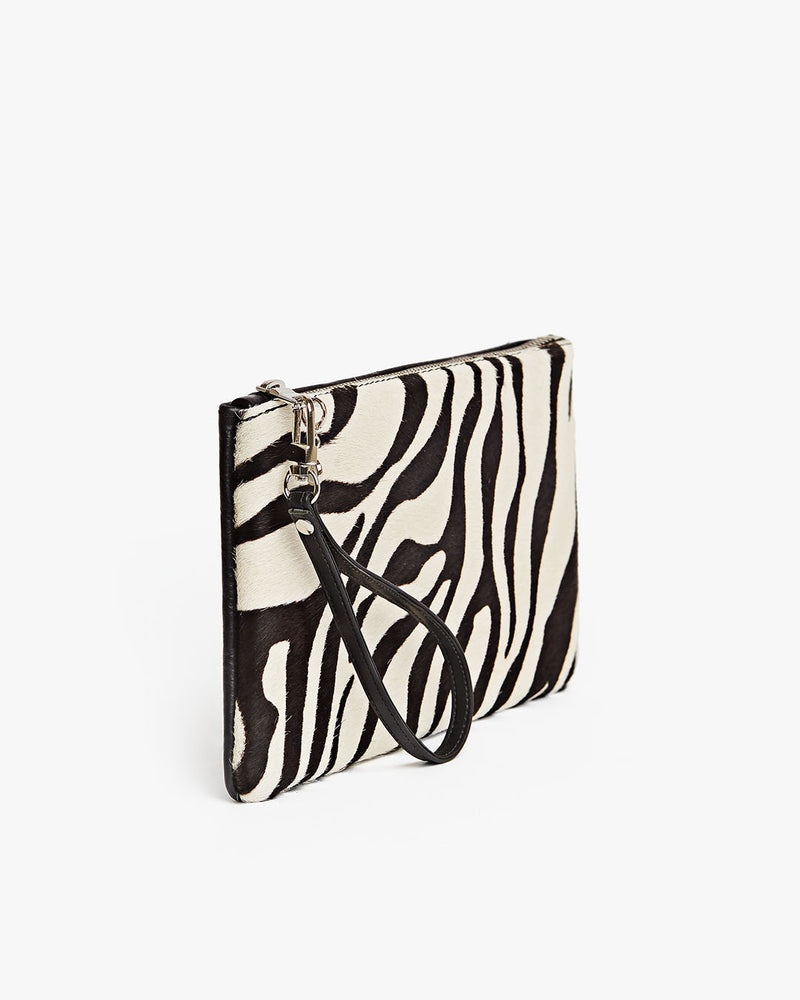 Authentic Leather Clutch in Zebra Design