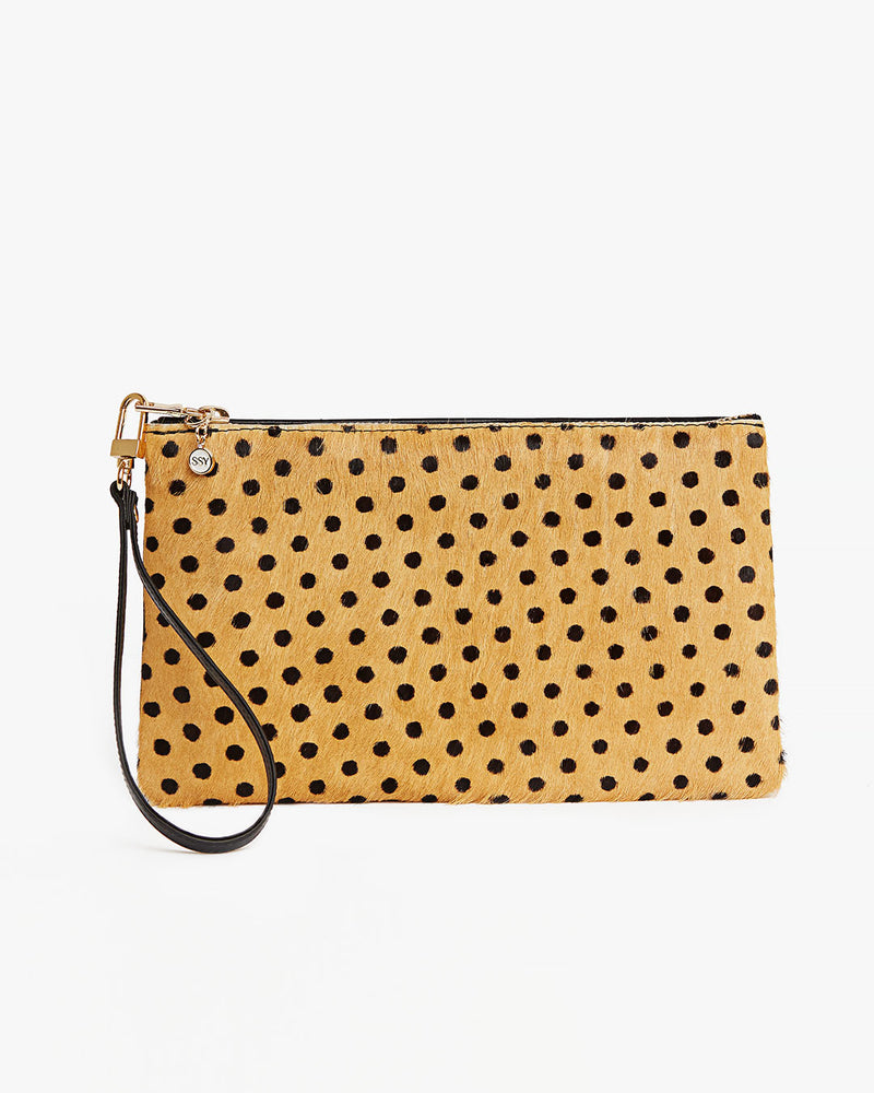 Yellow Polka Dot Leather Wristlet