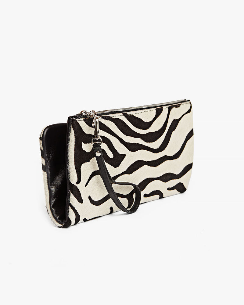 Arianna Zebra Print Fold-over Clutch - SSY Designs