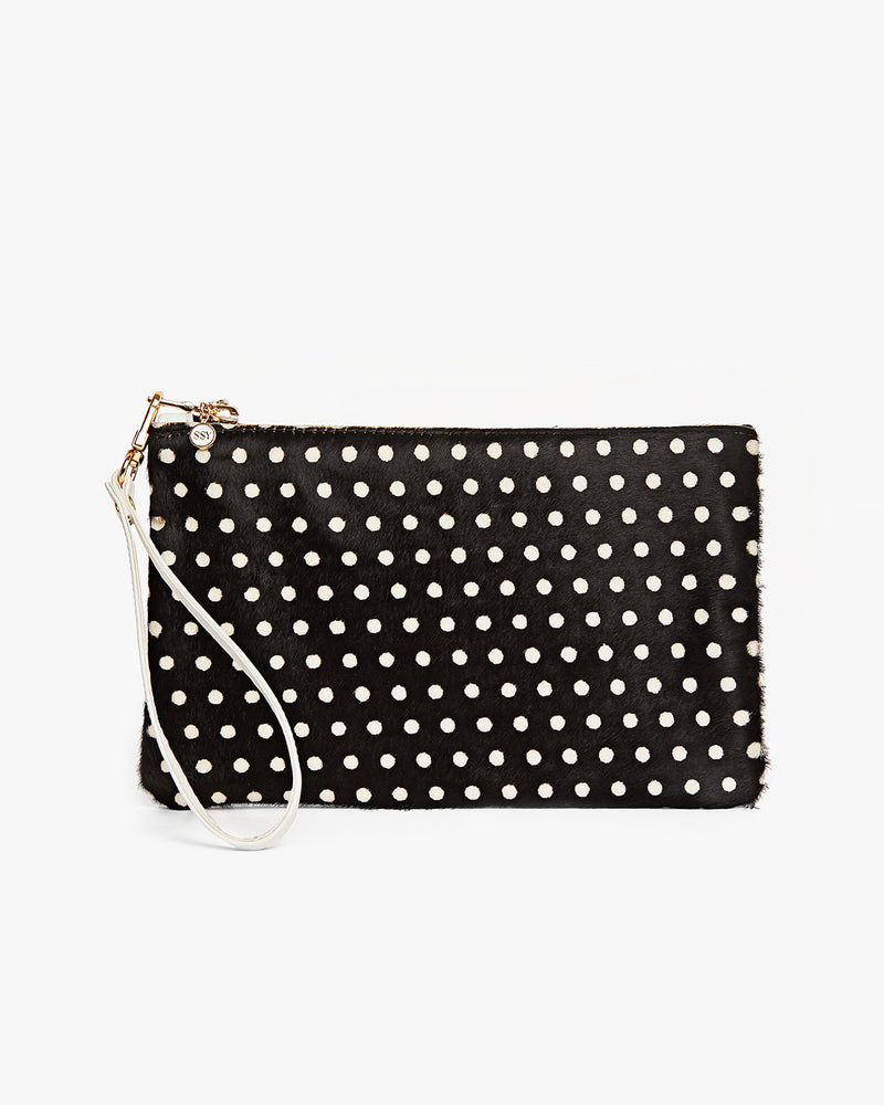 Polka Dot Leather Clutch