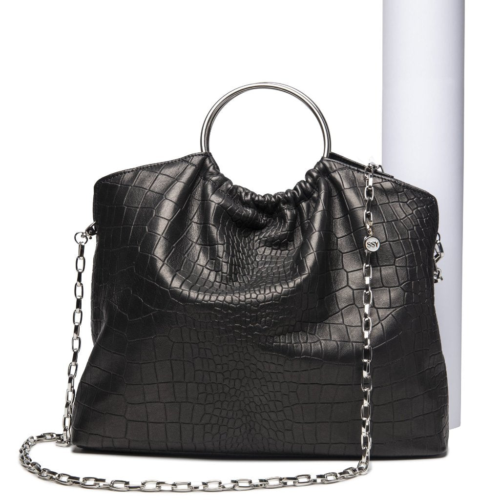 The Andrey Crossbody/ Handbag- Black Croc-Effect Leather - SSY Designs