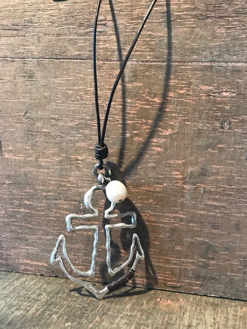 Necklace Anchor Leather