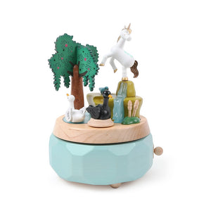 Wooderful Life: Music Box Unicorn with Swans