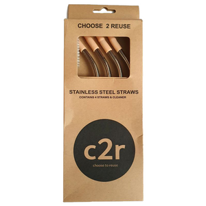 C2R Steel Drinking Straws 4pk Peach
