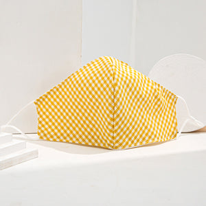 Yellow Gingham 3 Layered Face Mask