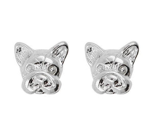 Short Story: Silver French Bulldog Bubble Earrings