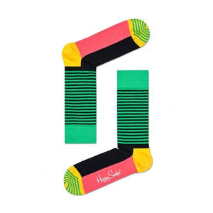 Happy socks: Black & Green Half Stripe Socks