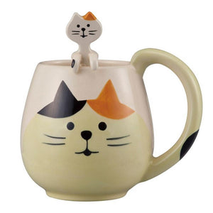 Cat mug & Spoon set - tortoiseshell
